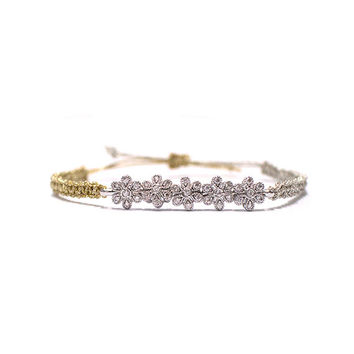 flower cord bracelet, Silver and Gold color knot with Silver plated Flowers point bracelet accessory