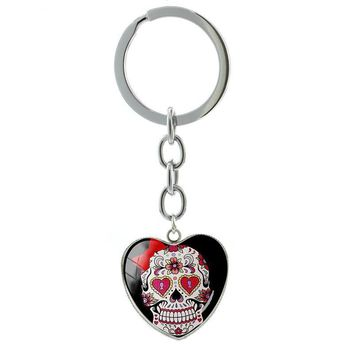 Skull heart pendant keychain metal key holder