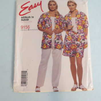 McCall's Easy stitch n save size 16 18 20 22 pattern 9156 misses shirt top pull on pants shorts