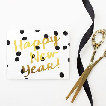 New Years Card 2016 Happy New Years Cards Personalized Black and White Polka Dot Christmas Card Faux Gold Foil New Year Card Holiday Cards