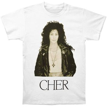 Cher Men's  Leather Jacket T-shirt White