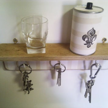 Wall Mounted Key or Jewelry Rack with Shelf in wood by Ayliss