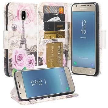 Samsung Galaxy J3 (2018) Case, Express Prime 3 Wallet Case,SM-J337A Wallet Cases, Wrist Strap Pu Leather Wallet Case [Kickstand] with ID & Credit Card Slots - Paris