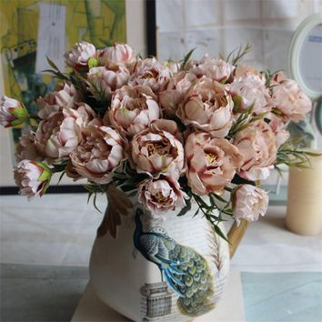 Cheap Artificial Silk Flower European 1 Bouquet Vintage Silk Flower Fall Vivid Peony Fake Leaf Wedding Home Party Decoration