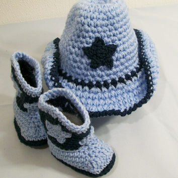Baby BoyCowboy Hat and Boots -Gift Set-Windsor Blue and Light Blue--Baby Shower Gift-#218