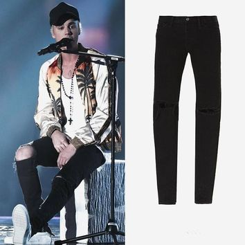 Slim Ripped Holes Jeans [10368006723]