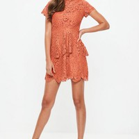 Missguided - Orange Short Sleeve Lace Double Layer Skater Dress