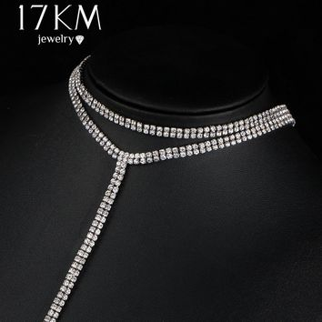 17KM 2017 New Crystal Choker Long Necklace for Women Fashion Simple Double-Strand Layered Wedding Necklace Bohemian Jewelry