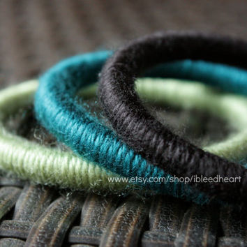 Three Yarn Wrapped Bangle Bracelets - Black, Dark Blue, and Light Green