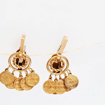 Vintage Turkish Gold Gilt Brass Coin Clip On Earrings