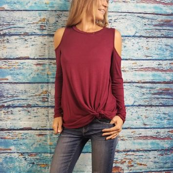 Open Shoulder Twist Front Long Sleeve Shirt-Available in Three Colors