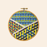 Abstract Wall Art - Fabric - 5 inch embroidery hoop - Scatterbrained - Abstract Original Art on Fabric - Original Textile - Wall Hanging