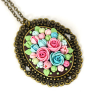 "Floral Pendant Necklace ""Blossom"" MADE TO ORDER Mint Turquoise Pink Oval Pendant Polymer Clay Flowers Roses Feminine Necklace"