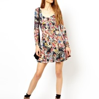 ASOS PETITE Exclusive Skater Dress In Floral with Button Down Front