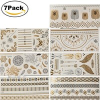 Premium Temporary Metallic Henna Tattoos, NaTape 7 Sheet Gold Silver Black and Turquois Shimmer Fake Jewelry Tattoos Bracelets Feathers Wrist and Arm Bands More Than 80 Designs Temp Tattoos