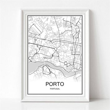 Famous World City Map PORTO Portugal Print Poster Abstract Coated Paper Bar Cafe Pub Living Room Home Decor Wall Sticker 42x30cm