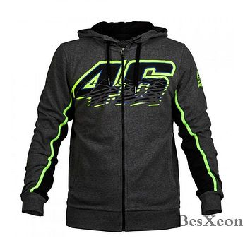 New Grey 46 Clothing Cotton Rossi VR46 zipper Hoodie MotoGP M1 Jackets Motorcycle Sweatshirt Motorbike VR46 Coats