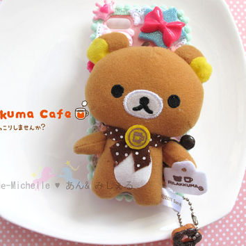 Rilakkuma Relax bear Dessert Iphone5 Pink Decora Decoden Kawaii Fairykei Sweets Phone Case dangled with Donut