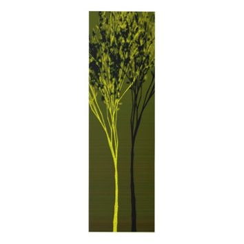 Olive Green & Chartreuse Shadow Trees Art Wood Wall Art