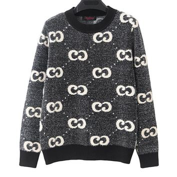 GUCCI Autumn Winter Fashion Women Casual Double G Letter Long Sleeve Round Collar Knit Sweater Top Sweatshirt
