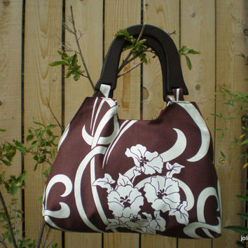 Brown Amy Butler August Fields Coquette Retro Style Handbag with Wooden Handles and Snap Closure