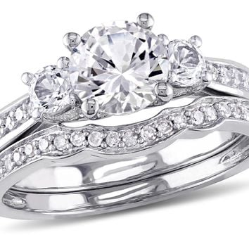 Created White Sapphire 1 1/3 Carat (ctw) with Diamond Bridal Wedding Set Engagement Ring in 10K White Gold