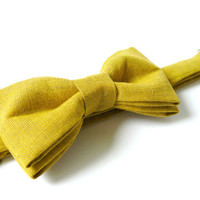 Mens bow tie by Bartek Design - groom wedding classic retro necktie chic handmade gift for him ready to wear - mustard yellow gold