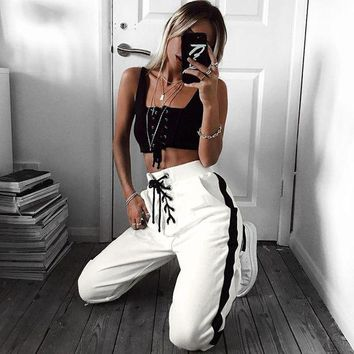 DCCKXT7 Women Casual Fashion Side Stripe Bandage Sweatpants Leisure Pants Trousers