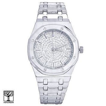 Jewelry Kay style Techno Pave Men's Fashion Silver Plated Iced CZ Metal Band Watches WM 8293 S