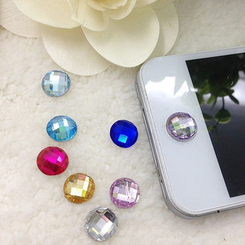 1pcs Multicolor Round Pieces Acrylic Home Button Sticker for Iphone 4s 5 5s 6 Cute Mobile Phone Accessories Phone Stickers
