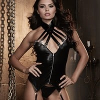 Faux Leather Zip Front Bustier