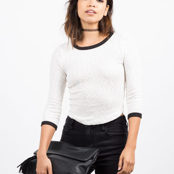 Ribbed Contrast 3/4 Top