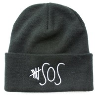 5sos Big Logo 5 Seconds of Summer Knit Beanie (BLACK)