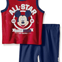 Disney Baby Boys' Mickey Mouse Athletic Set, Multi/Red, 18 Months