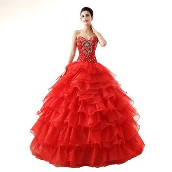 Ikerenwedding Women's Sweetheart Ball Gown Crystal Beaded Organza Ruffles Long Quinceanera Dress Red US02