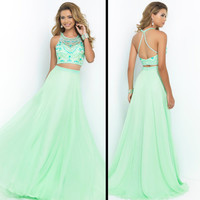 Custom Size Mint Green Two Piece Halter Boat Neck Formal Evening Dresses Bead Crystal Work Long Prom Ball Party Bridesmaid Homecoming