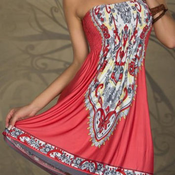 Watermelon Red Totem Printed Strapless Boho Dress