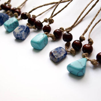 Boho Bridesmaid Gift - Turquoise and Blue Gemstone Pendant with Transitional Natural String - Wedding Accessories, Jewelery