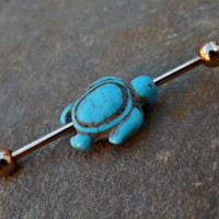 Turquoise Turtle Gold Industrial Barbell 14ga Body Jewelry Ear Jewelry Double Piercing 316L Surgical Stainless Steel
