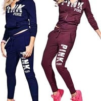 Victoria's Secret Pink : Letter Casual Suit Europe and America Long Sleeve Hooded Zipper Suit