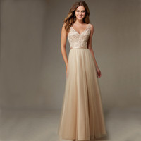 BW1205 2016 New Champange Embroidery Lace Long Bridesmaid Dresses Sexy Chiffon V-Neck Backless Cheap Robe Demoiselle D'honneur