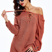 Casual Simple Solid Color Strappy V-Neck Knit Sweater
