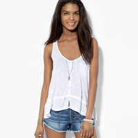 AE FLOWY BUTTON FRONT TANK