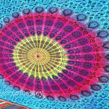 Multi Hippie Hippy Wall Hanging, Indian mandala Tapestry Throw Bed spread, Dorm Tapestry, Bohemian Tapestry, Colored Decorative Wall Hanging