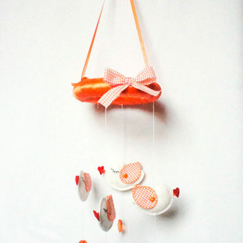 Felt Baby Mobile, bird, white, orange, Wall Hanging, Window Hanging, nursery, Hanging Baby Mobile, Baby Girl Mobile, Nursery Crib