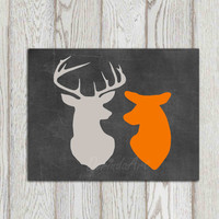 Deer printable decor Stag doe head print Orange gray home decor Chalkboard Happy Deer couple Anniversary print Wall art bedroom Gift idea