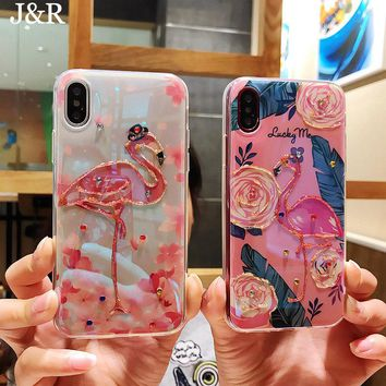 Pink Flamingo Glitter Silicone Phone Case Cover