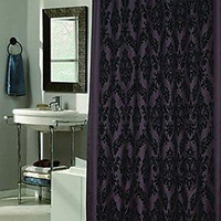 "Royal Bath King's Seal Fabric Shower Curtain w/Flocking Black/Brown 70"" x 72"""