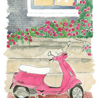 Pink Flower Vespa - Print of original watercolor and pen illustration, view, art print, bedroom decor, vanity decor, wall art, moped,  decor
