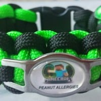 KIDS PEANUT OR PENICILLIN ALLERGY CHARACTER PARACORD SURVIVAL BAND